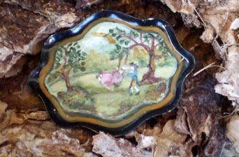 Hand painted folk art tin tray in miniature  $25.00 Sold