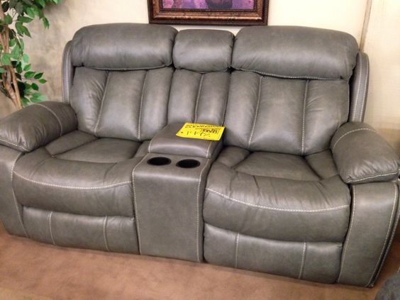 grey leather dual reclining loveseat with white baseball stitching love this furniture pinterest dual reclining loveseat grey leather and