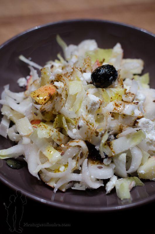 Salade d'endives, à la feta et à la pomme, vinaigrette au curry | Piratage Culinaire
