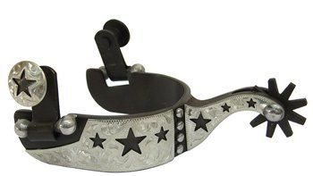 """Western Show Spurs Silver Engraving Cutout Stars Youth by AJ. Save 42 Off!. $29.00. Shank: 1 ½"""" raised shank. Band: ⅞"""" brown steel with hand engraved silver overlay. Rowels: ¾"""" 9 pt brown steel. Antique brown color youth size show spurs. Hand engraved silver overlay on trim with cut out stars. Youth size, 2 ½"""" opening, 2 ½"""" deep."""