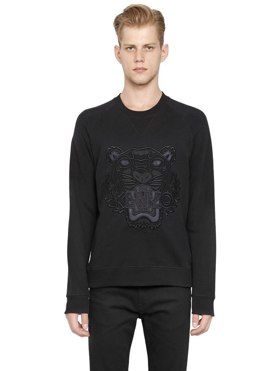 KENZO - MESH TIGER EMBROIDERED COTTON SWEATSHIRT