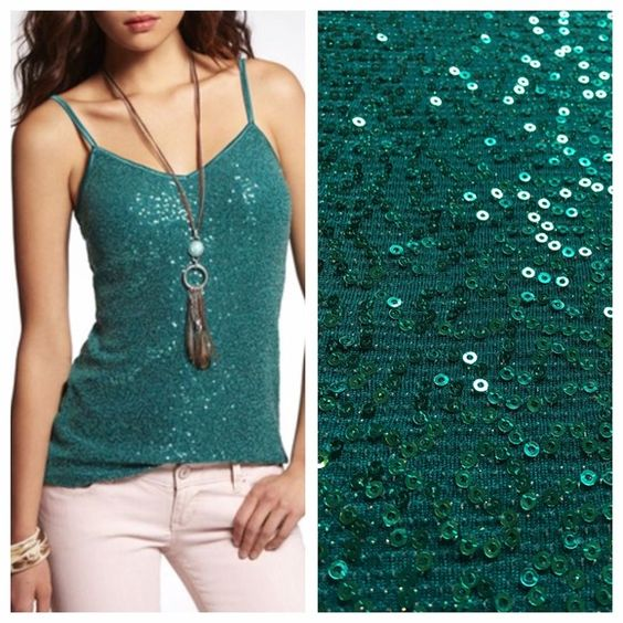 """NEW! Express Green Sequins Pretty Summer Top Large new without tags! never worn! perfect condition! name brand: Express. size: Large. color: Green. Design: Sequins. V neck. Adjustable Straps. Top does stretch! measurements laying flat, un-stretched: length without straps: 21"""", with straps: 25 1/2"""" - 27"""", chest/armpit to armpit: 18"""", waist: 17"""", hips: 20 1/2"""". material: 93% nylon, 4% spandex, 3% metallic. This top is very elegant & beautiful! Ready for spring & summer! Express Tops Blouses"""