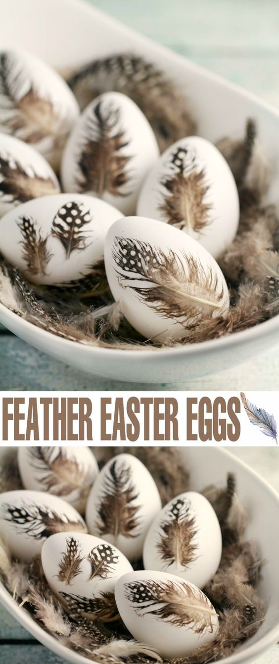These DIY Feather Easter Eggs are a simple but elegant way to decorate Easter eggs!:
