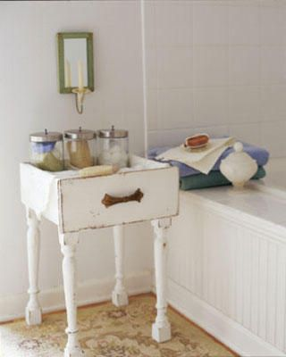 Combine legs from an old chair or table with your dresser drawer to create a useful storage table.  Set it next to the bath  to keep your bath salts and towels handy!  (If you don't have any old legs for this you can buy new ones at the home improvement store.) could also make nightstands for our bedroom.... Hmmmm: