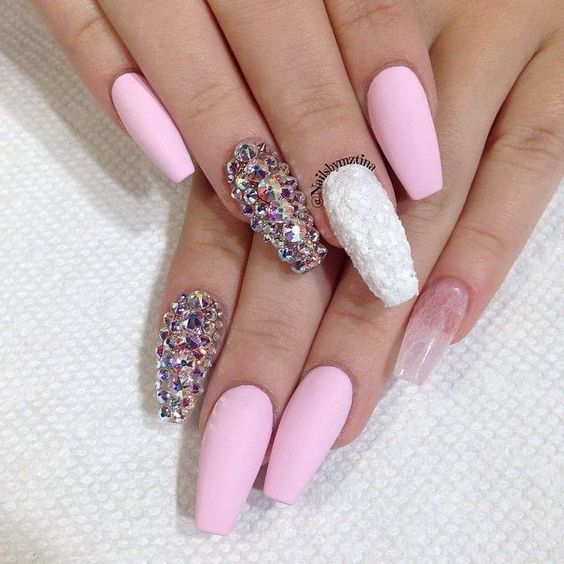 matte light pink square tip acrylic nails w rhinestones
