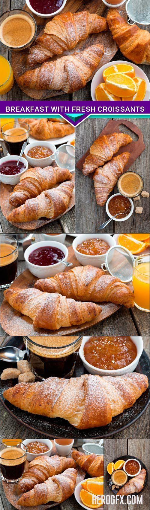 Breakfast with fresh croissants 7x JPEG