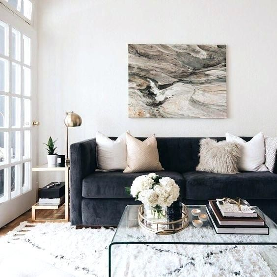 Dark Grey Couch Coordinated Colours Dark Blue Grey Couch White Beige And Generally Neutra Living Room Decor Apartment Couches Living Room Apartment Living Room