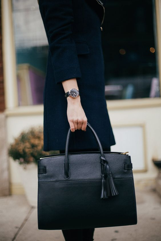 Cuyana Work Tote and Daniel Wellington Classic Black Watch | Charmingly Styled