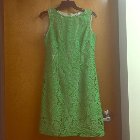 """Green lace dress Green lace dress from New York and Company. Worn three times. Hits at the knee for a 5'4"""" woman. New York & Company Dresses"""