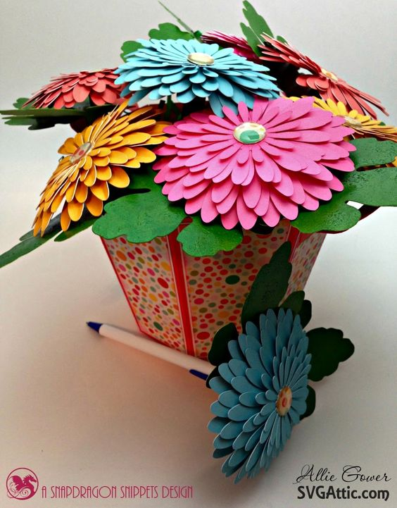 Bucket of Flower Pens hand crafted by Allie Gower using Autumn Splendor from @svgattic