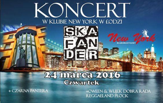 Koncert SKAFANDER + Czarna Pantera Oween & Wujek Dobra Rada Reggaeland PłockSkafander – płocki band obracający się wgatunkach roots reggae ska zlekką rockową naleciałością. Zespół zawiązał się wstyczniu 2015 roku zinicjatywy Piotra Włodarskiego. Wszys