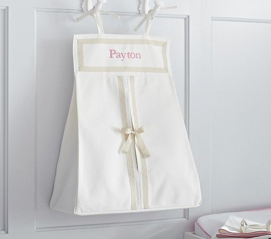 Khaki Harper Diaper Holder | Pottery Barn Kids **To use dresser top as changing table and hang this from drawer**