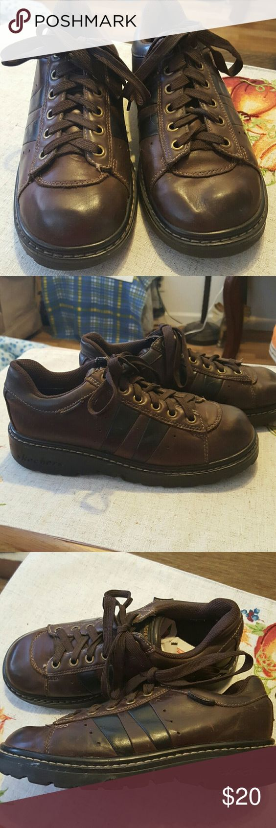 Skechers work shoe All leather aggressive soul Sketcher work shoes good condition Skechers Shoes Ankle Boots & Booties