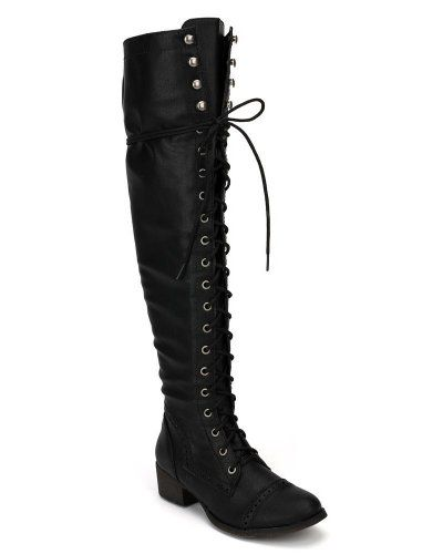 Breckelle's ALABAMA-12 Women's Elastic Over Knee High Zipper Lace ...
