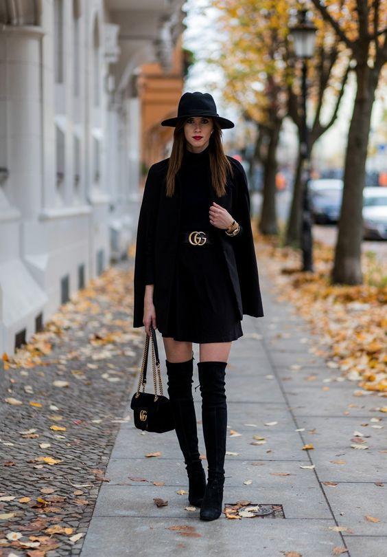 с чем носить ботфорты, уличная мода, overknee outfit