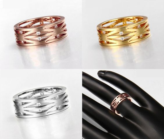 Rose Gold/Gold/Platinum Plated Hollow Ring With Cubic Zirconia