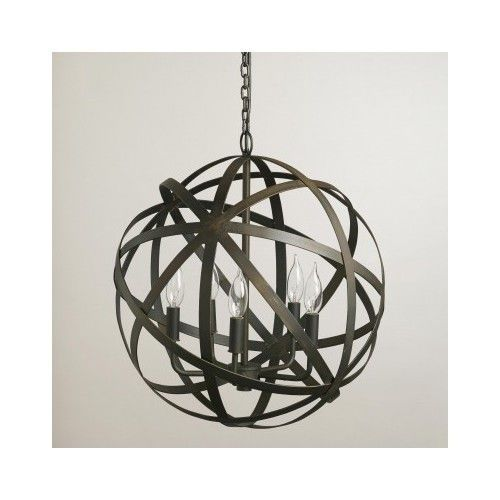 Rustic Metal String Lights : ORB CHANDELIER Industrial Vintage Rustic Black Metal Round Hanging Light Sphere {riverhills ...