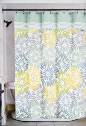 Green Curtains amazon green curtains : Peri Home Bayberry Fabric Shower Curtain Yellow Blue Green Gray ...