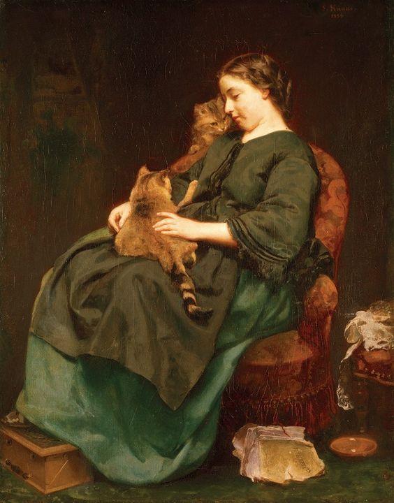 Ludwig Knaus (1829-1910) —   Cute Kitty  :  Museum Wiesbaden. Germany (728x930):