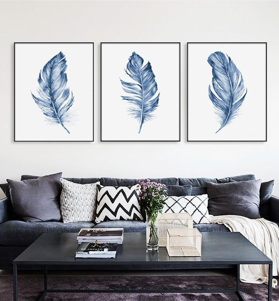 Feather Printable wall art Watercolor painting Wall decor Large wall Art prints Home Nursery decor Digital print download Poster Set of 3