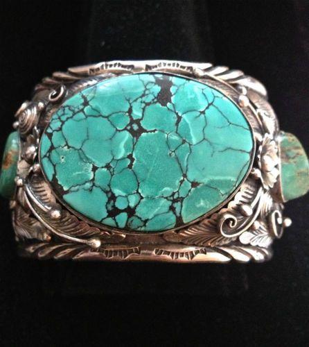 Massive 103 grms Large Size Sterling Bracelet w Huge Spiderweb Turquoise Center | eBay