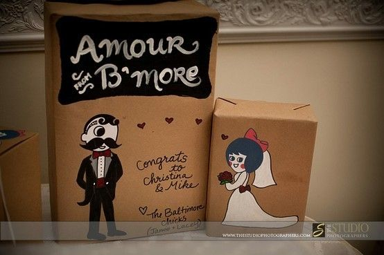 """my creations These are wedding gifts I decorated using Baltimore icons Natty Boh and the Utz pretzel girl. Photo courtesy of """"The Studio Photographers"""""""