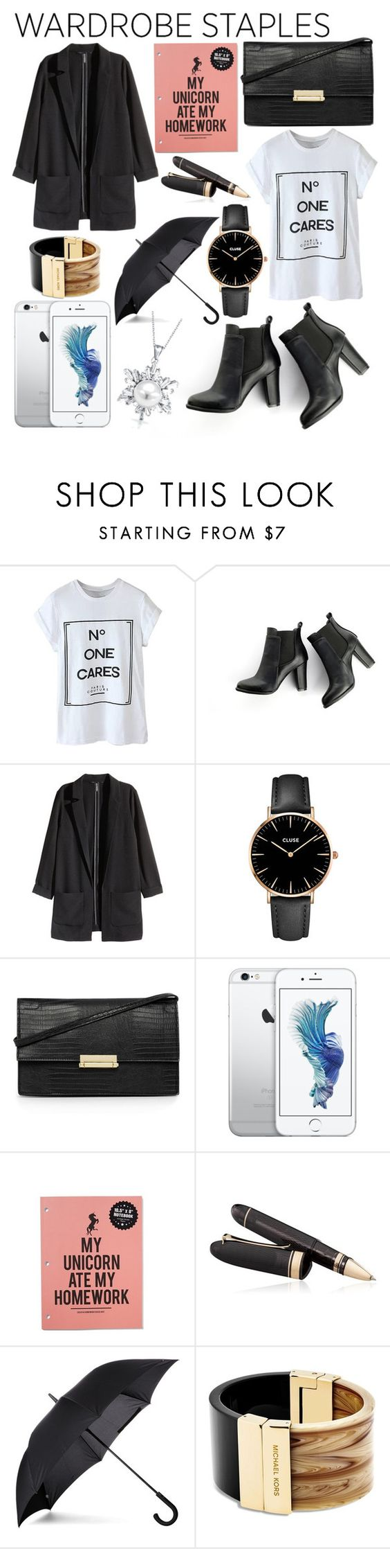 """""""Wardrobe Staple: White T-Shirt"""" by voguefully ❤ liked on Polyvore featuring SWEET MANGO, H&M, CLUSE, Warehouse, OMAS, Fulton, Michael Kors and Bling Jewelry"""