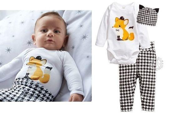 IWant美加代購 H&M Baby 千鳥紋 狐狸 包屁衣+褲子+帽子 有機款套裝 彌月禮 熱銷款 【現貨】2-12M