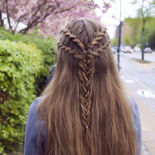 Four Braids Into One Half Updo Medieval Hairstyles Braided Hairstyles Viking Hair