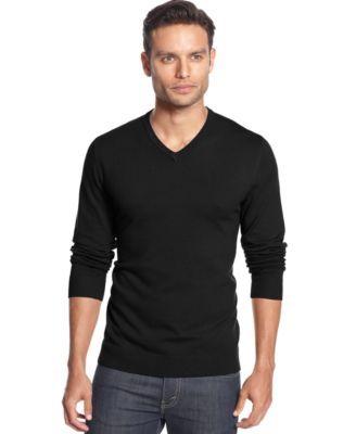 Alfani Black V-Neck Sweater