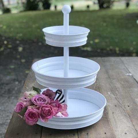 3 Tier White Metal Cupcake Stand Tiered Dessert Stand Tiered Tray Decor Metal Cupcake Stand