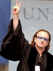 Bono at the Harvard 2001 commencement (Tim Shaffer/REUTERS) #u2newsactualite #u2newsactualitepinterest #u2 #bono #paulhewson #music http://www.people.com/people/article/0,,662147,00.html