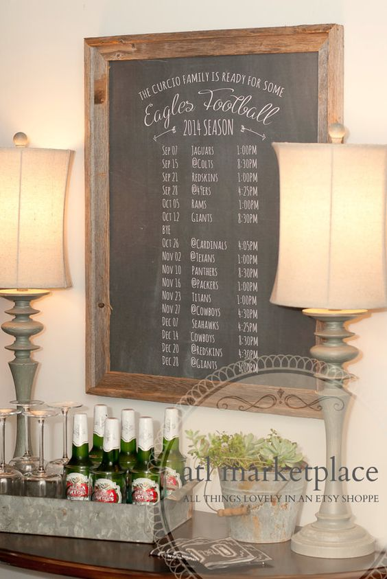 NFL Football Season Printable NFL SEC ACC or College Football Season Schedule Large Personalized Chalkboard Poster Size