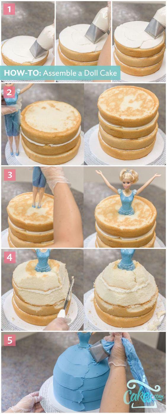 How-To Make a Disney Princess Cinderella Doll Cake: