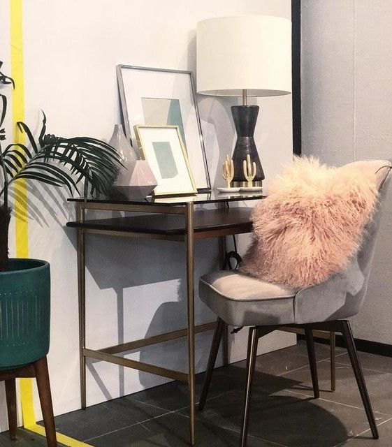 Mid Century Art Display Mini Desk Grey Interior Doors Desk In Living Room Interior