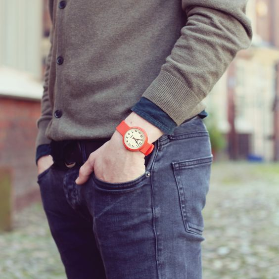 The Electric watch in red by Newgate Watches. www.newgatewatches.com. Gloss red case with red silicone strap. A retro  look for men and women.