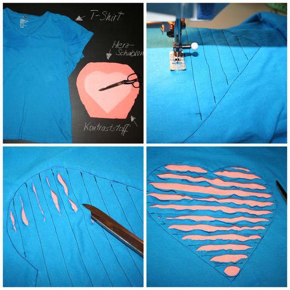 Valentinstag Tshirt mit Herz nähen Chenilletechnik, diy, Tutorial, Liebe, Anleitung