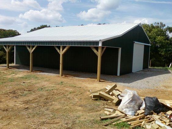 30x40x10 With 10x40 Shed Pole Barn Www Nationalbarn Com