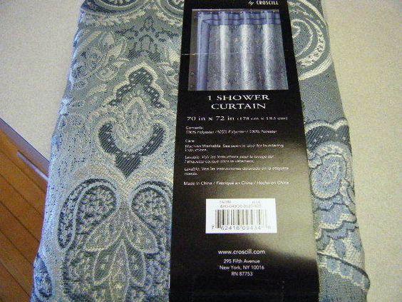 Chapel hill / croscill talyn jacquard shower curtain w/ border ...