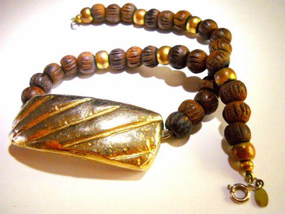Cadoro Wood Necklace Vintage Gold Tone Metal by RenaissanceFair