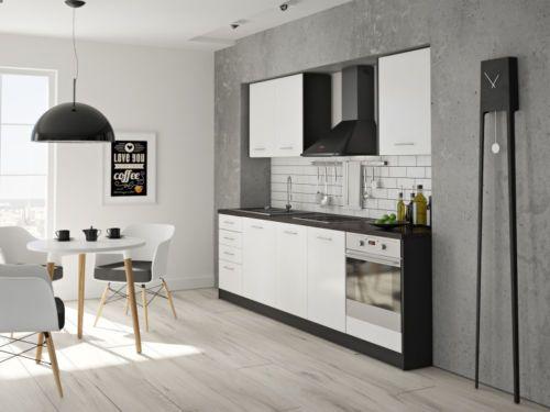 Details zu Komplett Küche Küchen Set Einbauküche günstig in Weiß ...