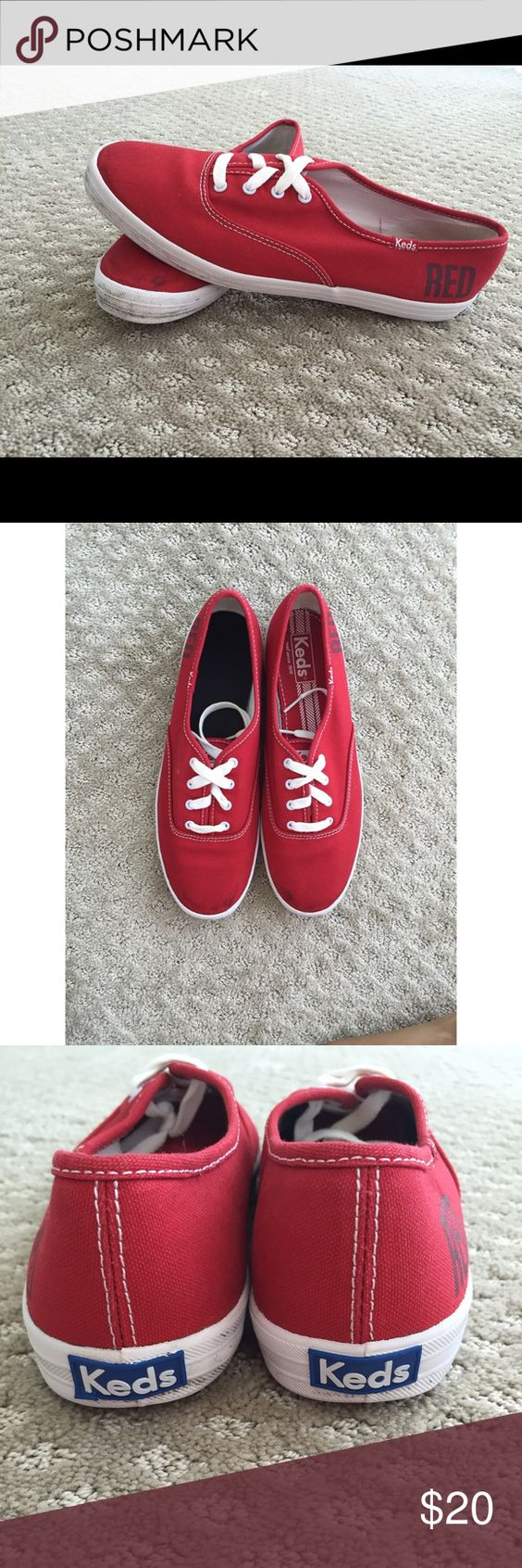 RED Keds with Taylor Swift Taylor Swift collaboration with Keds. RED Keds only worn a few times. Minor scuffs. Keds Shoes Sneakers