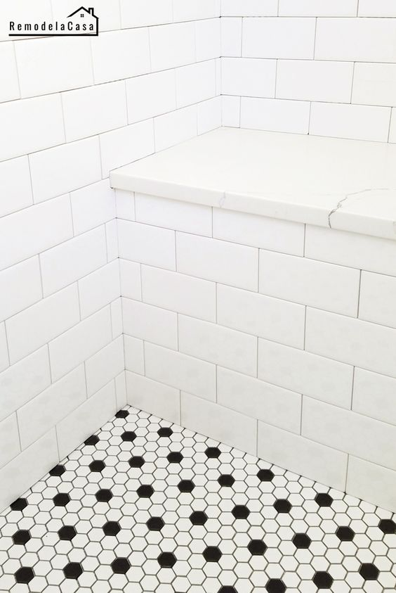 Bathroom renovation - Installing subway tile and hex black and white porcelain tile on floor