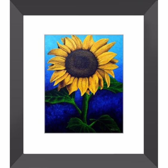 Face the Sun - Sunflower Framed Print of Acrylic Painting Fine Art - The Unfolding Butterfly