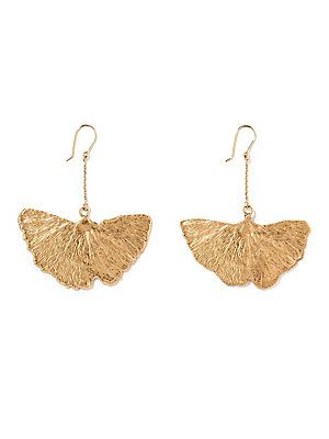 Aurélie Bidermann Gingko Leaf 18K Yellow Gold Drop Earrings - Gol