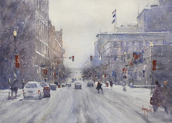 Snow on Main by Judy Mudd Watercolor ~ 11 x 15
