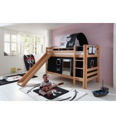 lit superpos h tre avec toboggan et tunnel pirate. Black Bedroom Furniture Sets. Home Design Ideas