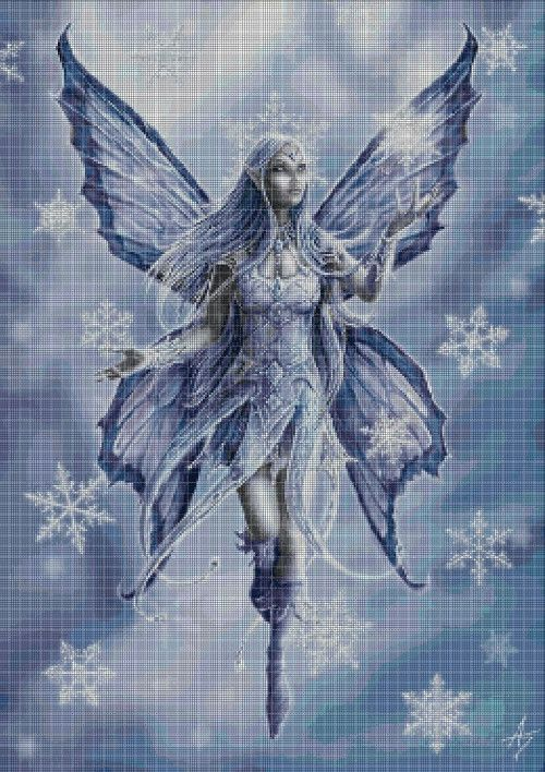 Lonely Fairy Handmade Fantasy Counted Cross-Stitch Pattern Chart Needlepoint