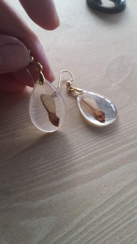 Résine en forme de larme boucles d'oreilles d'érable graines Samara or vraie fleur bijoux Nature