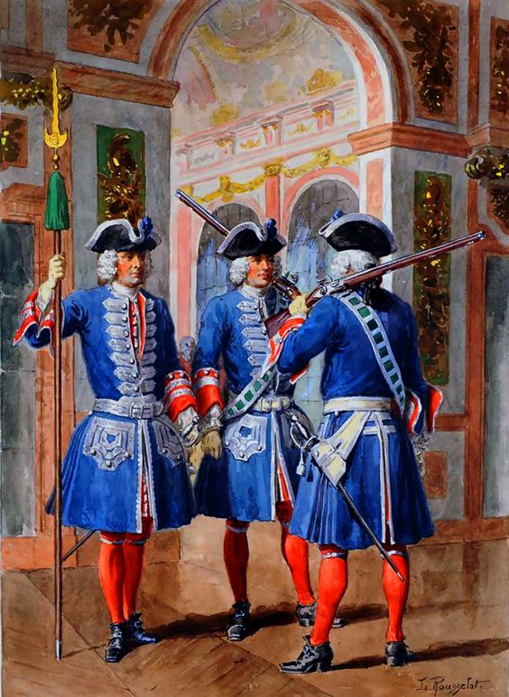 French royal Garde du Corp in the Palace of Versaille